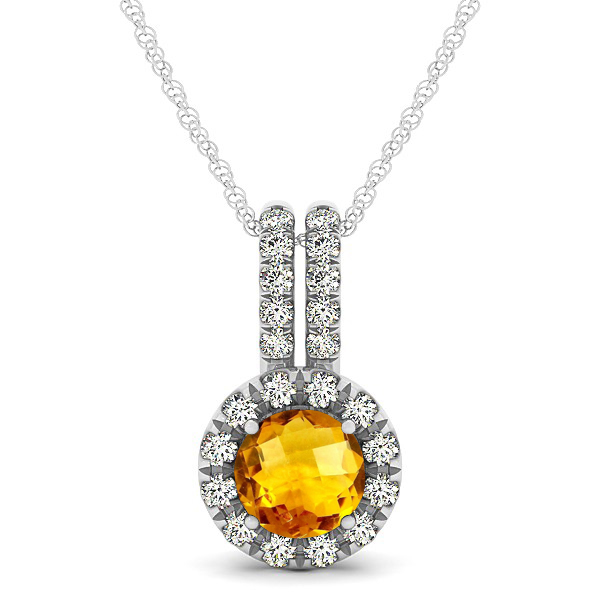 Luxury Halo Drop Necklace with Round Cut Citrine Gemstone