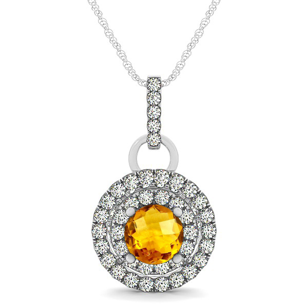 Royal Dual Halo Citrine Necklace with Circle Pendant