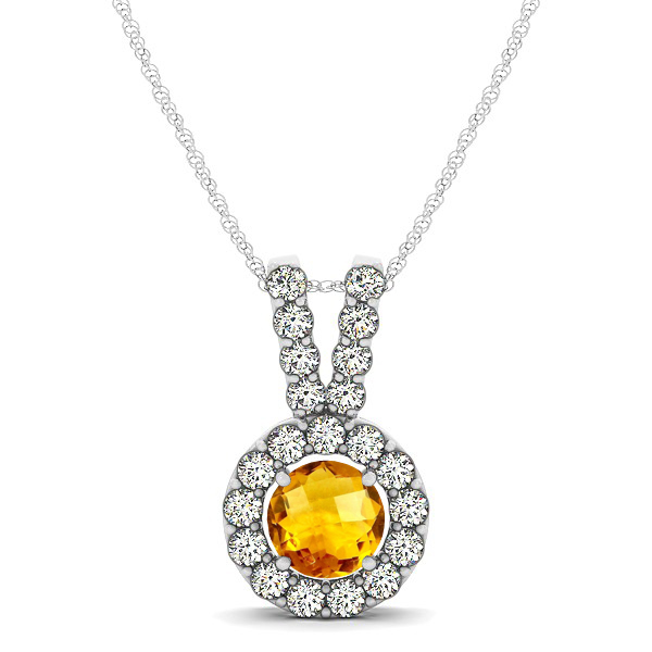 Classique V Neck Halo Necklace with Round Cut Citrine