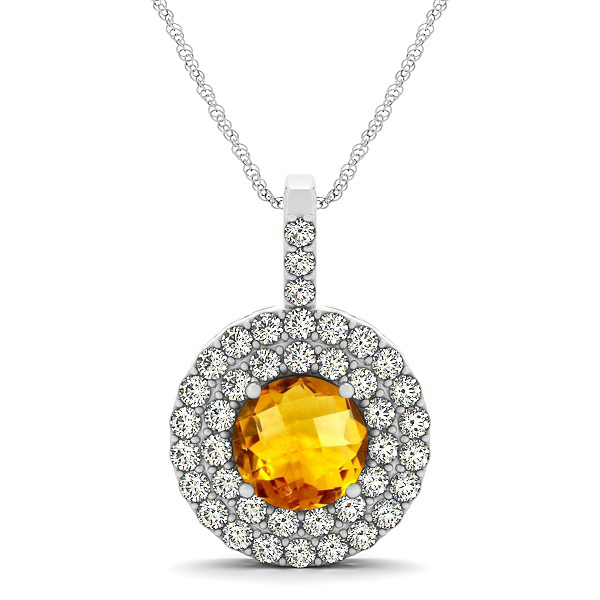 Designer Circle Double Halo Citrine Necklace