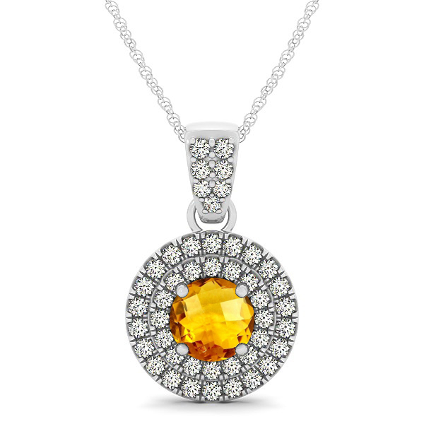 Double Halo Round Citrine Circle Neklace