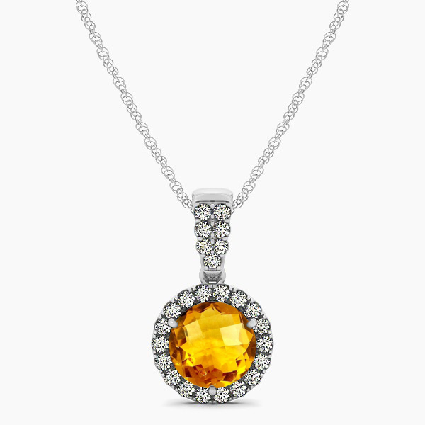 Gorgeous Drop Halo Necklace Round Cut Citrine VS1
