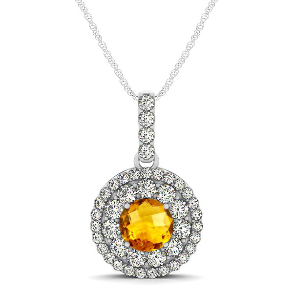 Round Citrine Necklace with Twin Halo Pendant