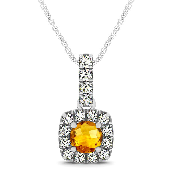 Peculiar Halo Side Stone Round Citrine Drop Necklace