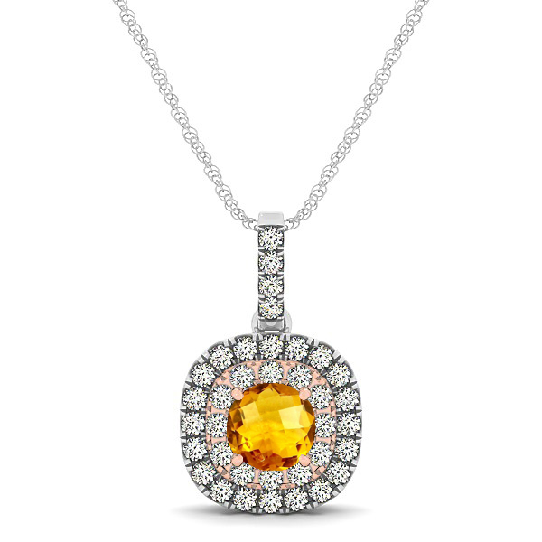 Cushion Shaped Halo Necklace with Round Citrine Pendant
