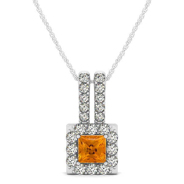 Contemporary Square Halo Necklace Princess Cut Citrine