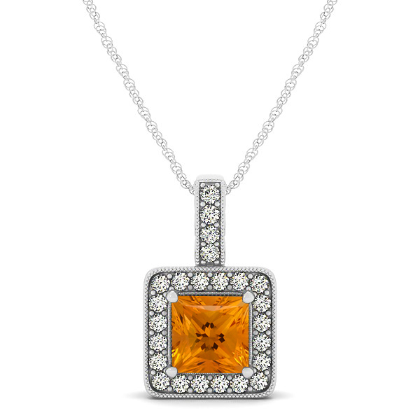 Square Citrine Halo Necklace in Gold or Sterling Silver