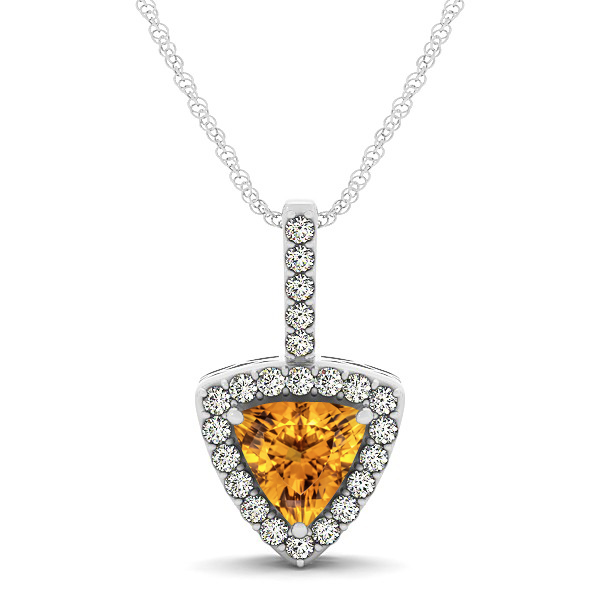 Beautiful Trillion Cut Citrine Halo Necklace