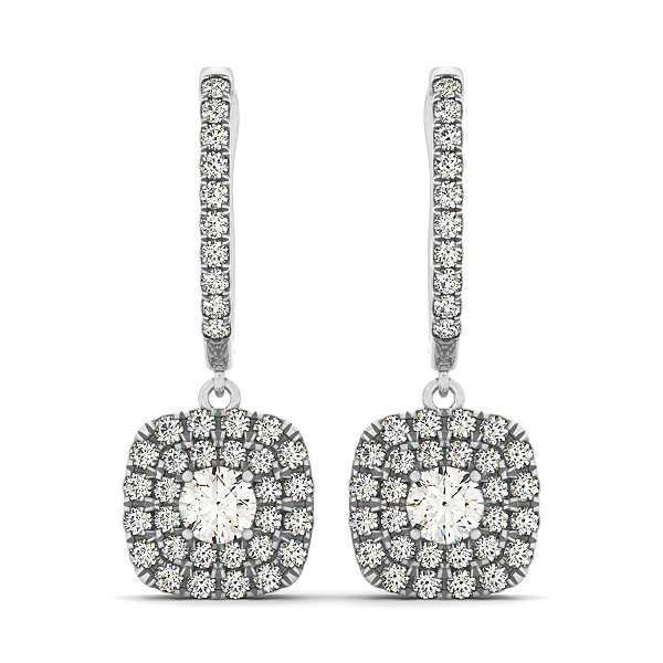 Cushion Dangle Diamond Earrings