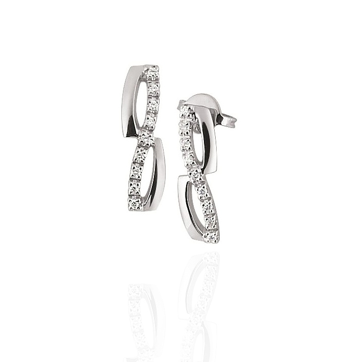 Diamond Infinity Earrings in 18K White Gold