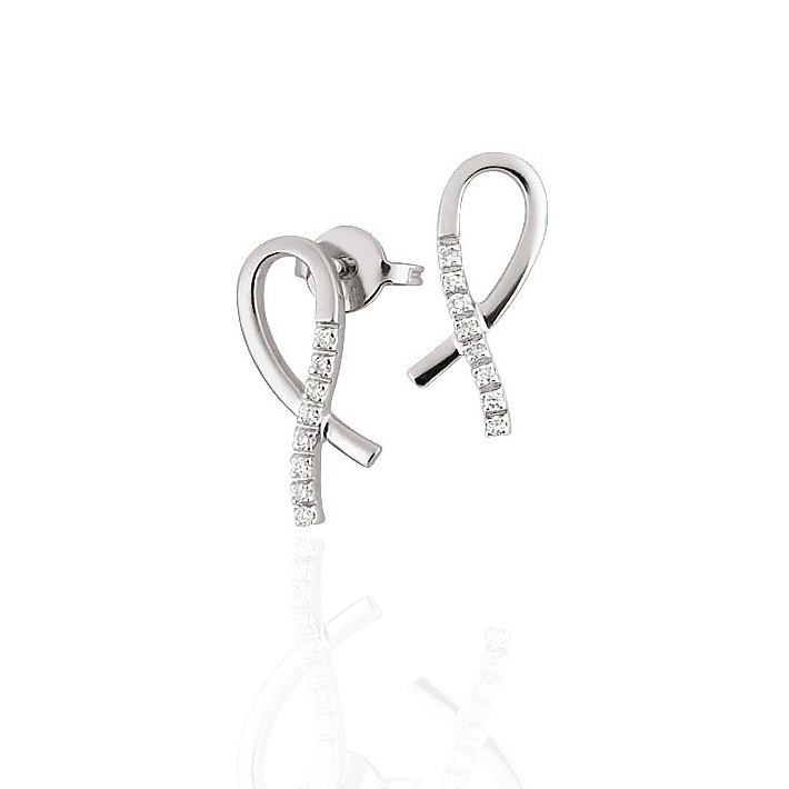 Ribbon Gold Earrings 18K White Gold ITALIAN