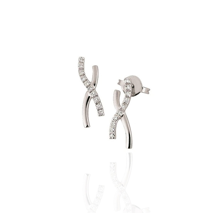 Modern Diamont Earrings 18K White Gold