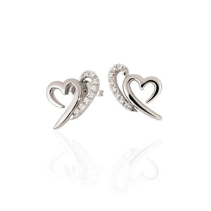 Fine Heart Earrings White Gold
