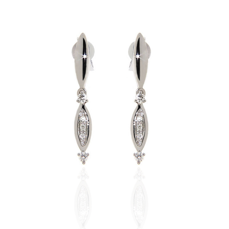 Dangle Diamond Earrings Made In Italy