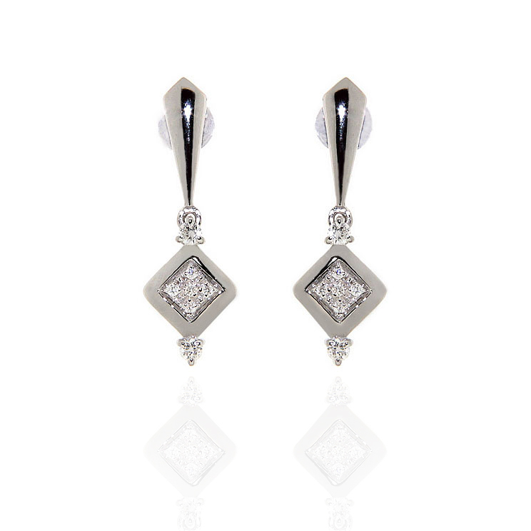 Italian Drop Diamond Earrings in White Gold