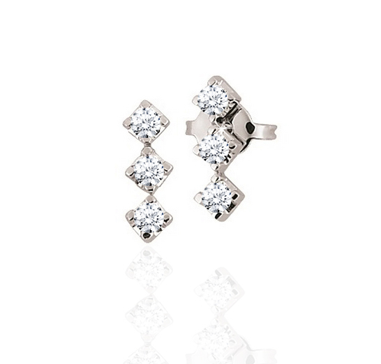 Three Stone Diamond Earrings 1/2CT