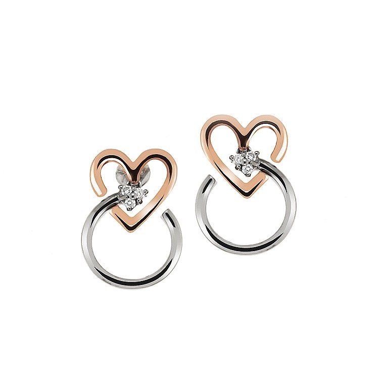 Unique Diamond Heart Earrings