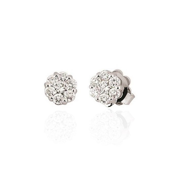two diamonds round white gold earrings diamond stud pin set in