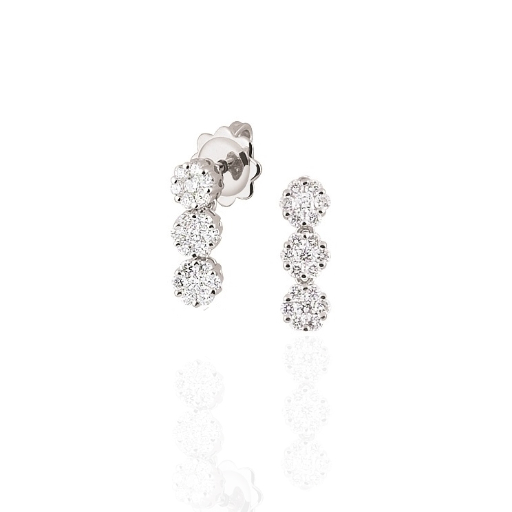Three Stone Diamond Earrings 1/2CT From Italy