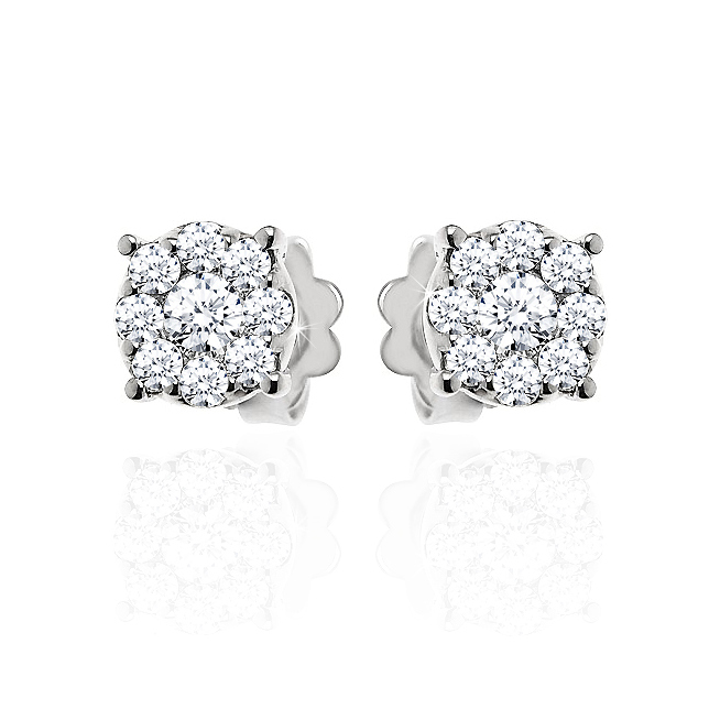 Stud Diamond Earrings 3/4CT from Italy