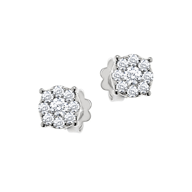 Stud Diamond Earrings 0.44CT - Made In Italy