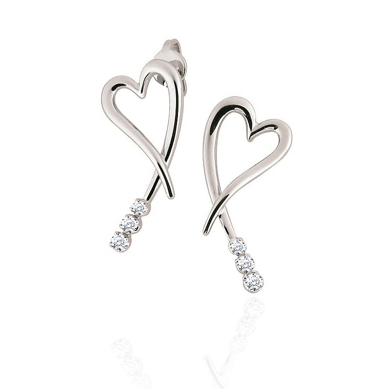 Diamond Heart Earrings 18K White Gold