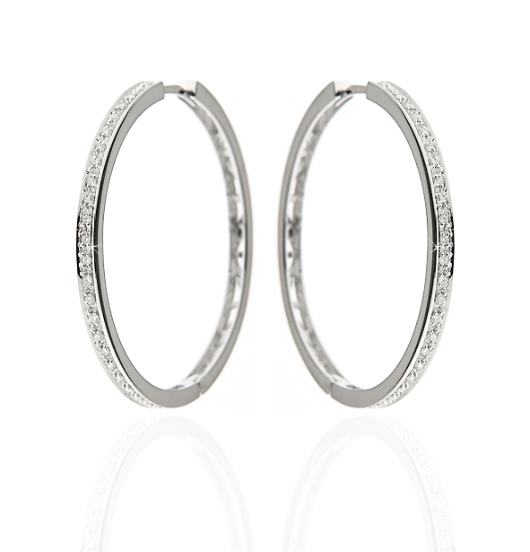 Diamond Hoop Earrings 18K White Gold