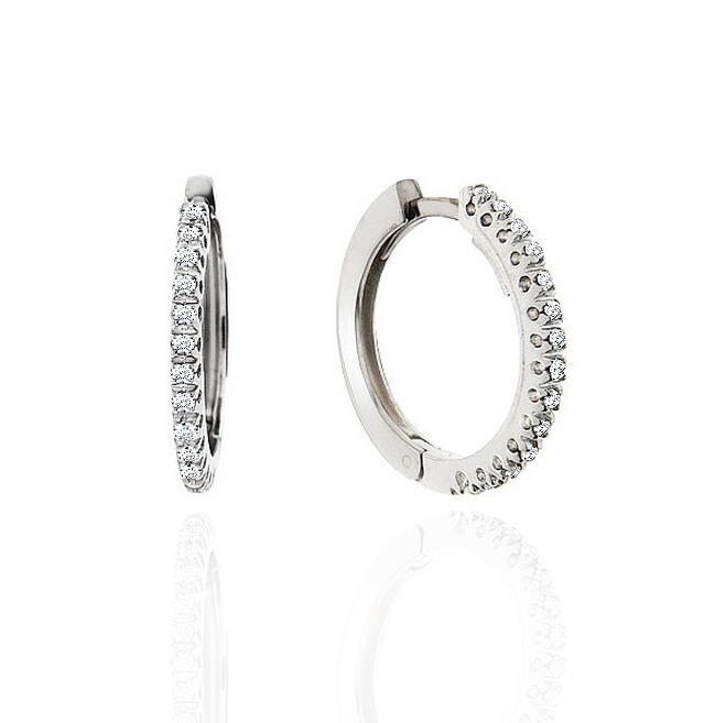 Hoop Diamond Earrings 1/6CT