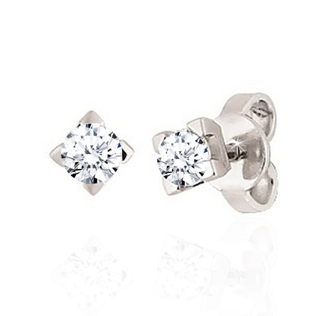 Diamond Stud Earrings 1/5CT Made In Italy