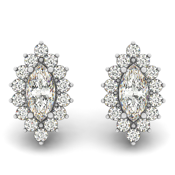 Marquise Stud Diamond Earrings