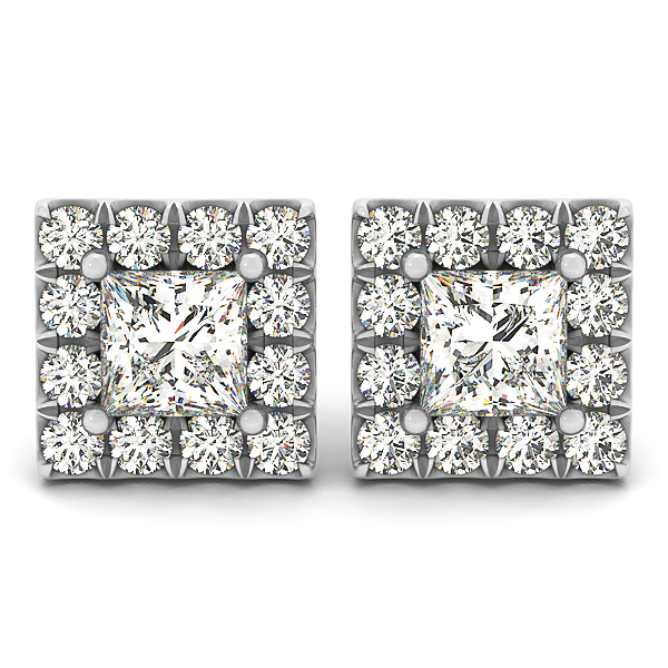 Princess Cut Diamond Earrings Studs