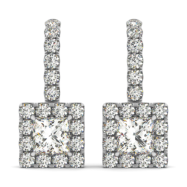 Gorgeous Princess Cut Diamond Earrings
