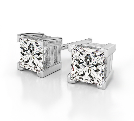 Fine Princess Cut Diamond Earrings