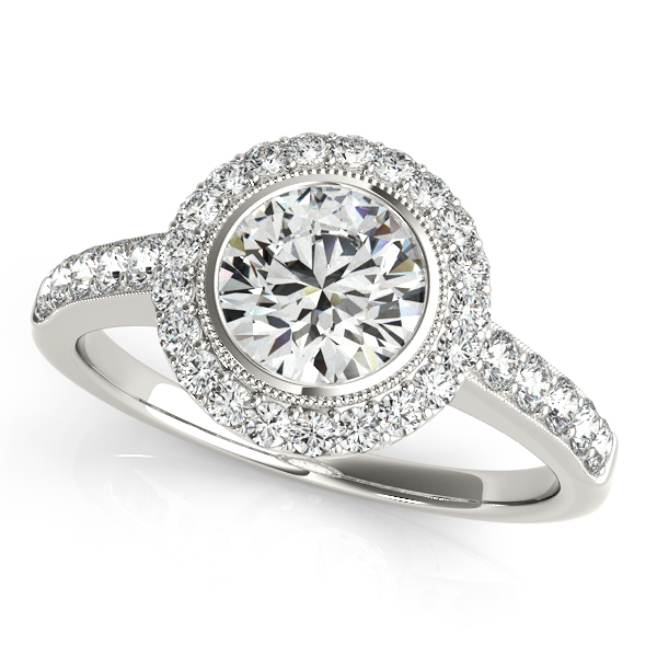 Astounding Bezel Setting Halo Diamond Engagement Ring