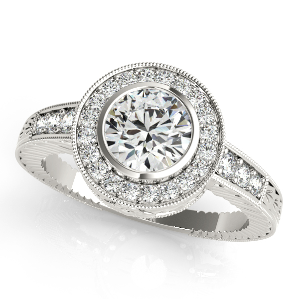 Vintage Bezel Halo Engagement Ring Masterpiece with Filigree