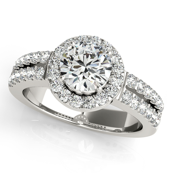 Duet Side Stone Diamond Halo Engagement Ring Split Shank