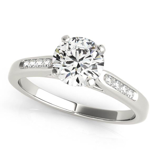 Elegant Classic V Neck Engagement Ring with Diamond Side Stones