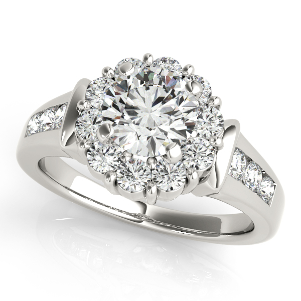 Remarkable Extra Tall Halo Engagement Ring with Side Stones
