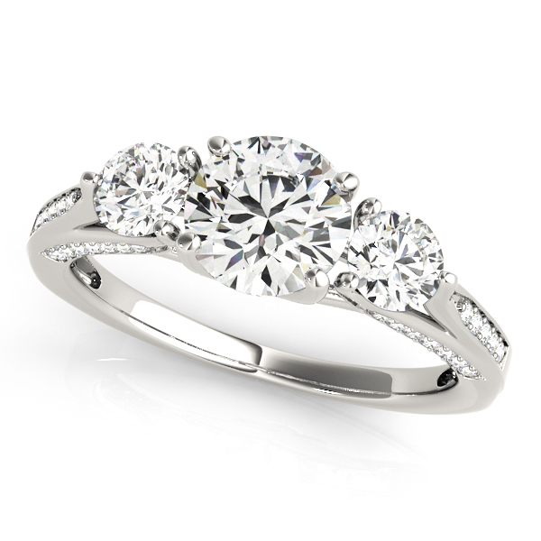 Three-Stone Engagement Ring Trellis Side & Accent Diamonds