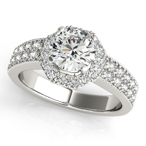 Unprecedented Octagon Round Halo Diamond Engagement Ring
