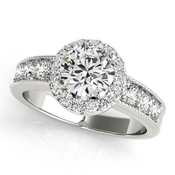 Innovative Halo Engagement Ring Indented Shank & Side Stones