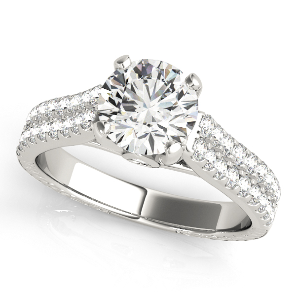 Luxury Pave Diamond Engagement Ring with Drop Diamond Accent