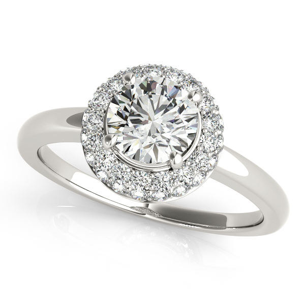 Cute Traditional Duet Round Halo Diamond Engagement Ring