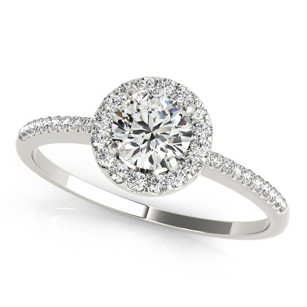 Popular Diamond Side Stone Halo Engagement Ring Comfort Fit