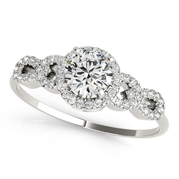 Peculiar Infinity Side Stone Engagement Ring with Round Halo