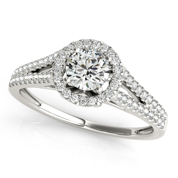 Heart Engagement Ring with Round Diamond Halo & Side Stones