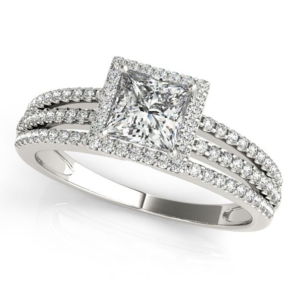 Modish Triplet Side Stone Engagement Ring with Square Halo