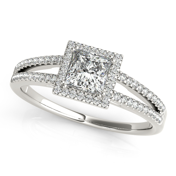 Unequaled Square Halo Princess Cut Diamond Engagement Ring