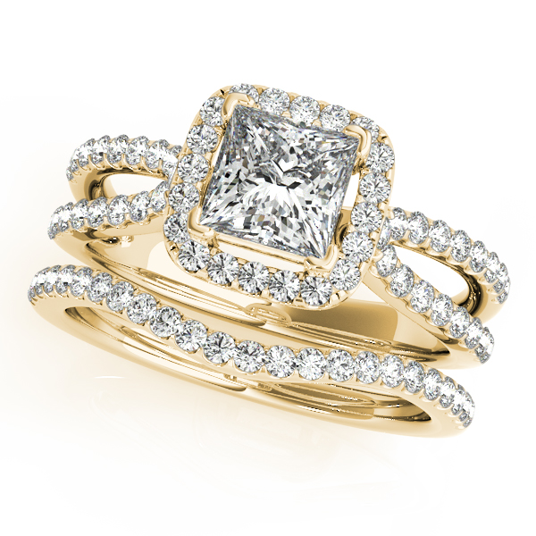Stunning Halo Engagement Ring With Princess Cut Diamond