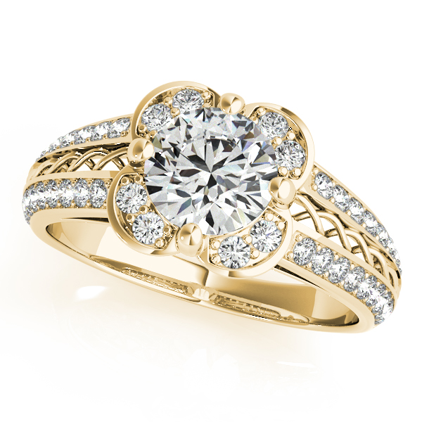 Original Split Shank Halo Engagement Ring with Accent Diamonds